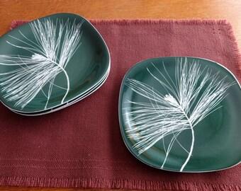 Set of four, Vintage, Dark Green, Pine Needles, Plates