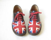 Doc Marten Oxfords.  Made in England Union Jack Oxfords. Size 4 UK// Size 6 US