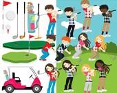 Golf clipart - golf clip art golfing girls golfing boys golfing cute golf ball golf cart clubs sport kids digital personal commercial use