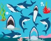 Shark clipart - shark clip art sea clip art seaweed coral sea life ocean life  clipart digital designs commercial