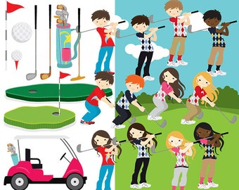 Golf clipart - golf clip art golfing girls golfing boys golfing cute golf ball golf cart clubs sport kids digital personal commercial use