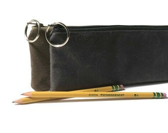 Waxed Canvas Zipper Pouch, Pencil Pouch, Pencil Case, Waxed Canvas Pouch