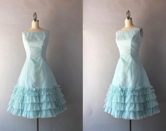 1950s Party Dress / Vintage 50s Ice Blue Ruffled Formal / 1950s Deadstock Ruffles and Bows Party Dress