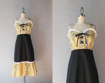 1970s Dress / Vintage 70s Peasant Dress / 70s Bohemian Sundress with Matching Shawl
