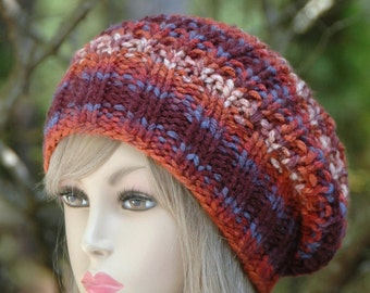 Knit Slouchy Hat in Burnt Orange, Purple, Slouchy Beanie, Chunky Knit Hat, Womens Winter Hat, Vegan Hat - Chunky Slouchy Hat, Reversible