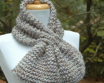 Silver Gray Chunky Knit Keyhole Scarf, Knitted Pull Through Scarf, Original Design, Isaac Mizrahi Yarn, Knit Scarf, Silver with Gold Accent