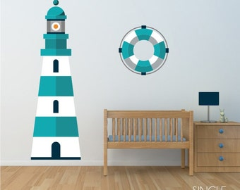 Lighthouse Wall Decal - Nautical Nursery Vinyl Wall Sticker Room