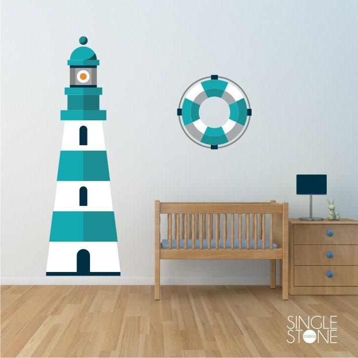 Lighthouse Wall Decal Nautical Nursery Vinyl Wall Sticker