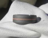 Wedding Band Titanium with Copper Inlay Ring Sandblasted Finish