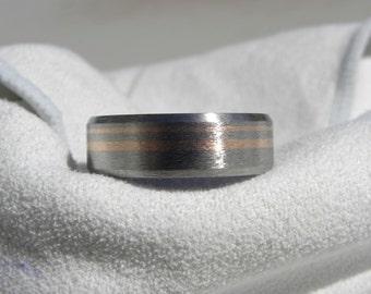 Titanium Ring or Wedding Band, Rose Gold Inlay Stripes, Beveled Edge