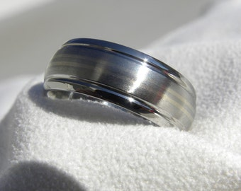 Titanium Ring with Double White Gold Pinstripe Inlays, Wedding Band