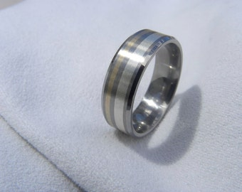 Titanium Ring, Wedding Band, Silver Yellow Gold Striped Inlays