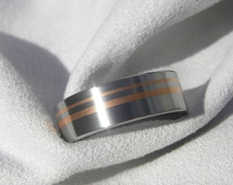 Titanium Ring Band with two Copper Inlays Unique Style