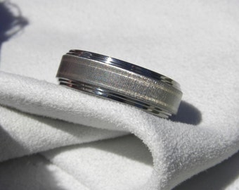 Ring or Wedding Band, Titanium with White Gold Pinstripes, Frosted Finish