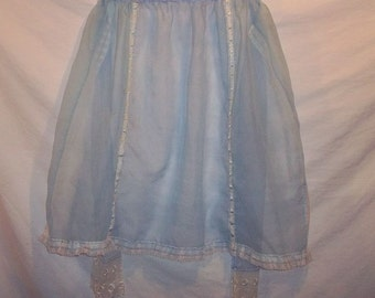 Sheer Blue with White Floral Flocked Vintage Novelty Half Apron Wide Ties Eyelet Lace Trim