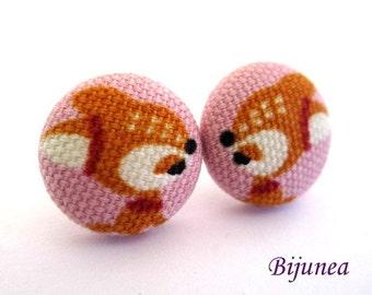 Deer earrings - Pink deer stud earrings - Animal earrings - Deer posts - Deer studs - Orange deer post earrings sf1254