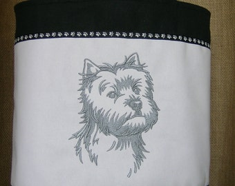 Westie Embroidered Tote Bag, Tote Bag, Westie, West Highland Terrier Tote Bag