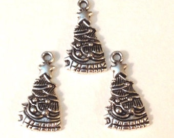 7 Holiday Christmas Tree Charm - Antique Silver - SC136#GW