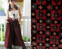 1970s Vintage Corduroy Palazzo Capris High Waist Belt Loops Red Persian Print Carpet Pants Samurai Pants Wide Leg Size Large