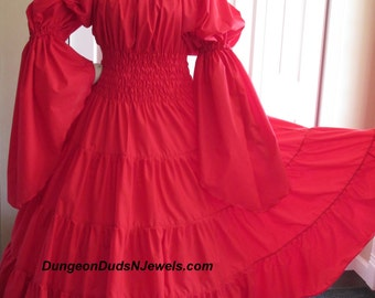 DDNJ Choose Color 1 Tier Bell Slv Multi Tier Cotton Dress Renaissance Plus Custom Made ANY Size Anime Costume Lolita Steampunk Pirate  Wench