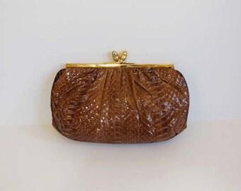 vintage purse / Vintage Judith Leiber Snakeskin Bag Gold Kiss Lock Frame