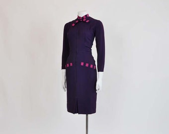 40s dress / Allie Mae Vintage 1940's Purple and Pink Crepe Dress