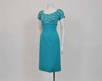 1950s dress / Vintage 50's Embroidered Rhinestones Wiggle Dress