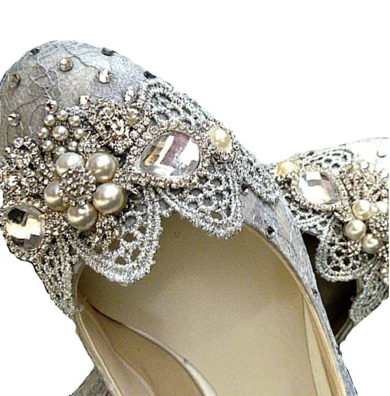 Bridal Shoes Usa: Silver Wedding Shoes .. Silver Lace .. Silver Lacy Shoes.. Low