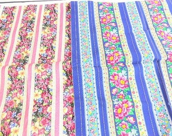 Floral and Stripe Fat Quarters, Pink Blue Vintage Like Print, Quilting Fabric, Two Pieces, 36 inches long