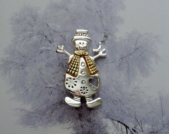 Xmas Snowman Pin Brooch Silvertone and Goldtone Vintage