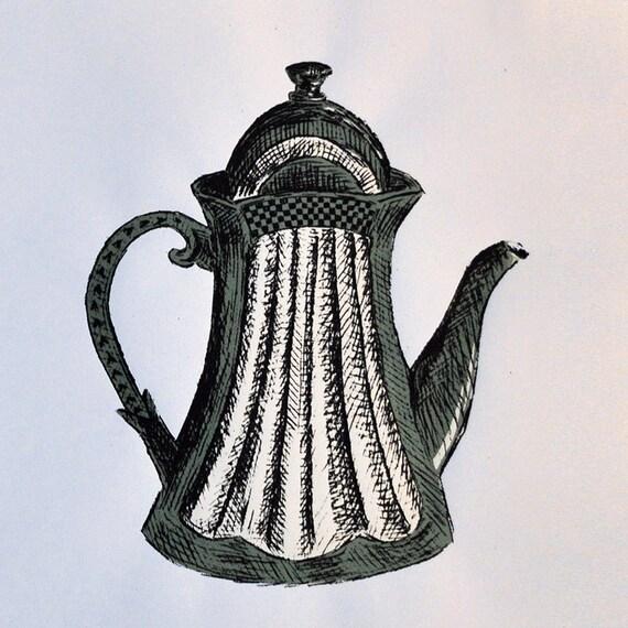 Screen Printed Green Teapot