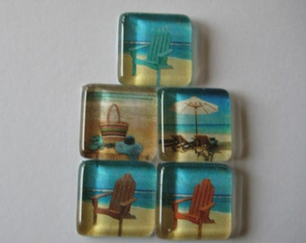 Cute and Fun Beach Themed Square Glass Magnets Set of 5