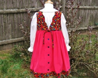 Girls corduroy jumper, hot pink, flowers on navy, ivory blouse,  buttoned back, scalloped back, winter, fall, size 4/4T, Ready to ship,