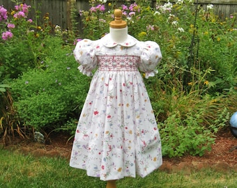 Girl toddler, smocked dress, size 4, rose blue flowers, white dress, ready to ship, heirloom, Easter, handmade, classic, party dress, OOAK