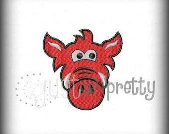 Mini Hog Razorback Pig Filled Embroidery Design