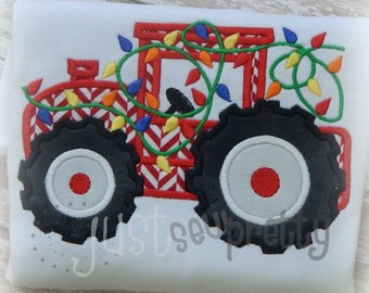 Tractor with Christmas Lights Embroidery Applique Design