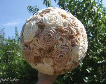Large Cotton Cream and Brown Wedding Bouquet with Burlap