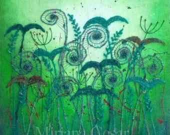 Unfurling XXVIII original mixed media fiber art fern artwork, home decor fiddleheads, collectible art mounted on cradled wood panel 20 x 20