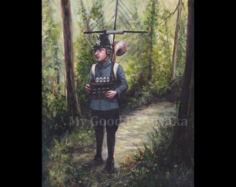 I'm Trying Very Hard to Listen to You, Original Painting, Spy, Eavesdropper, Radio Set, Forest, Fairy Tale, Folk Tale, Woods, Surreal,