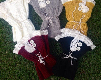 Wholesale Lot of 10 Pairs of Knit Lace Boot Cuffs