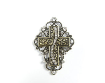 Multi Link Burnished Gold-tone Cross Pendant Rhinestones
