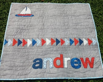 Modern Personalized Baby Boy Quilt