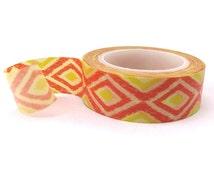 Ikat Washi Tape - 15mm x 10 metres - Yellow Washi Tape Roll - Orange Masking Tape - Pretty Masking Tape - Washi Tape Australia