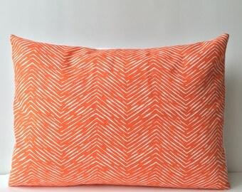 14x18 orange and white, chevron pattern