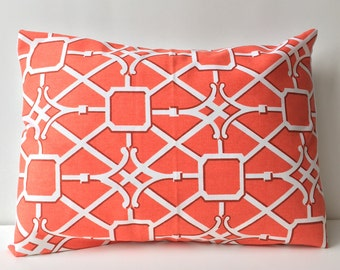 14x18 orange and white, graphic chinoiserie pattern