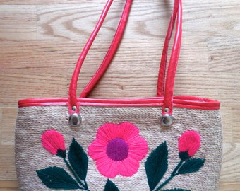 vintage hand WOVEN and Embroidered floral purse MEXICO red handle