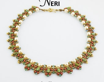 NERI Silky SuperDuo and OBeads Beadwork Necklace Pdf tutorial instructions for personal use only