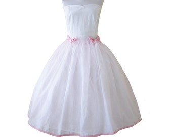 Custom in your size cotton rockabilly style with pink  Alice in Wonderland white princess dress with sweet heart neckline