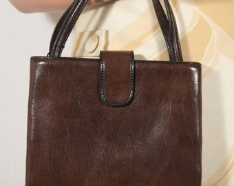 VINTAGE Italian Brown Leather HANDBAG Purse Tote Signed Lord Boutique GA