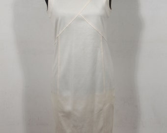 BASILE Italian Vintage White Cotton Sleeveless Sheath Dress Size 42 IT GA